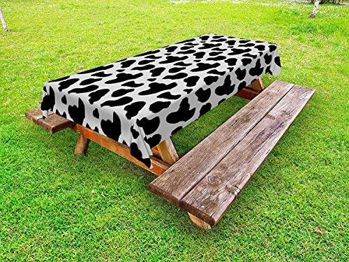 Cow Print Outdoor Tablecloth,Cow Hide Pattern with Black Spots Farm Life with Cattle Camouflage Animal Skin,Outdoor Tablecloth Spillproof Waterproof,61W X 100L Inch White Black ()