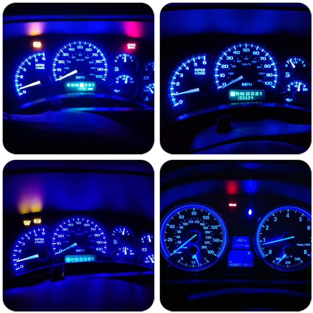 Wljh 10 Pack Blue Canbus T5 Led Bulb 2721 37 74 Wedge 2003 Ford Windstar Dash Warning Lights Lamp Pc74 Twist Sockets Dashboard Instrument Panel Cluster Leds Replacement