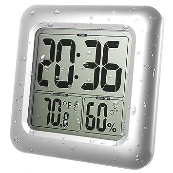 Étanche Mur Horloge Salle De Bain Hygromètre Électronique Numérique Horloge  Douche Horloge Salle De Bain Eau