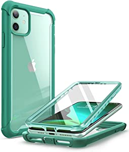 i-Blason Ares Case for iPhone 11 6.1 inch (2019 Release), Dual Layer Rugged Clear Bumper Case with Built-in Screen Protector (Mint Green)