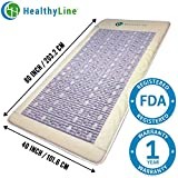 HealthyLine Far Infrared Heating Mat (Firm)|Natural Amethyst, Jade & Tourmaline 80''x40'' |​​​​​ ​Negative Ions | Complete Body Detox & Pain Relief |Free Foil Blanket| FDA Registered