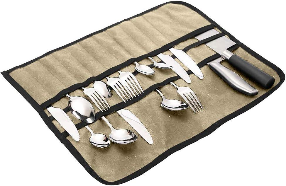 Flatware Caddy, Picnic Cutlery Roll, Flatware Chest CaddiesWith 33 Slots,Silver Tray Storage Bags Anti Tarnish, Tableware Dinnerware Set Storage Bag For Travel Camping Picnic (Khaki)