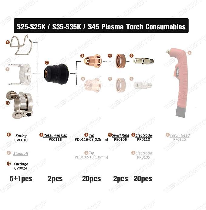 Plasma Cutting Torch Consumables Fit Trafimet S25 S35 S45 Torch 50pcs