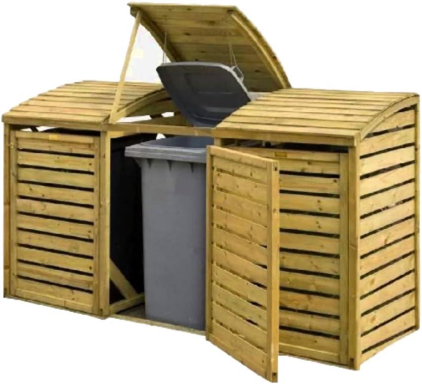 XFACTOR DEAL LIMITED Triple Cubo de Basura de Almacenamiento de Madera Caja de cobertizo de jardín Unidad Exterior Garaje Utilidad Muebles Herramienta Exterior Resistente a la Intemperie & E Book: Amazon.es: Jardín