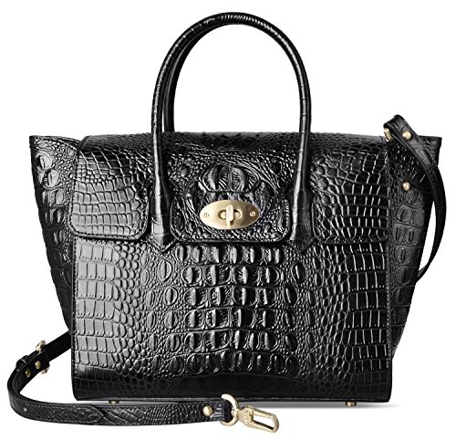PIFUREN Large Handbag for Women Top Handle Bags Genuine Leather Crocodile Handbag (Big size, Black)