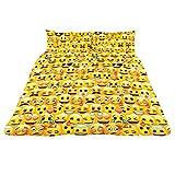 Childrens/Kids Emoji Design Multi Face Design Duvet Cover Bedding Set (Full) (Yellow)