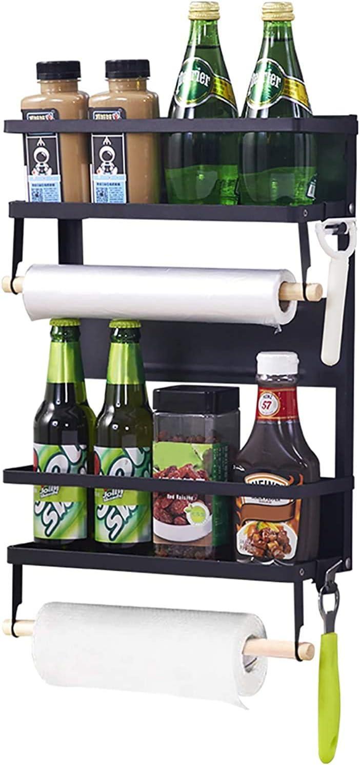 Magnetic Fridge Spice Rack, vocheer Organiser Hanging Rack Refrigerator Spice Storage Wall Mounted Paper Towel Holder with Shelf Kitchen Roll Dispenser Spice Rack Bathroom Organiser