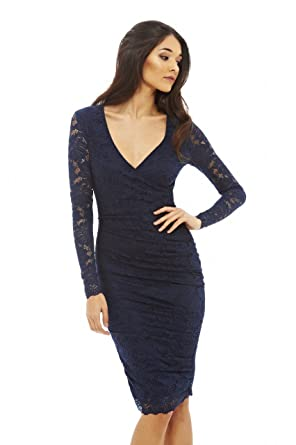 2bd00bb6081 AX Paris Women s Long Sleeve Ruched Lace Dress(Navy