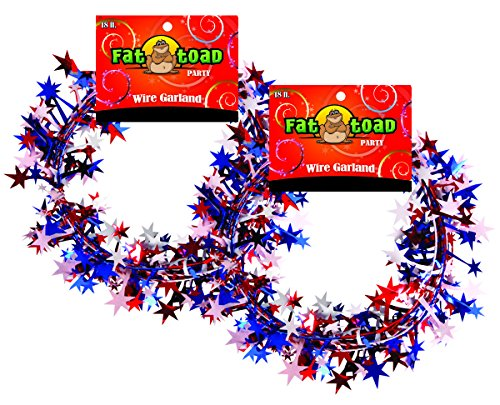 Garland Stars Red/White/Blue 18 Foot 2 Pack, Fat (Red White Blue Border)