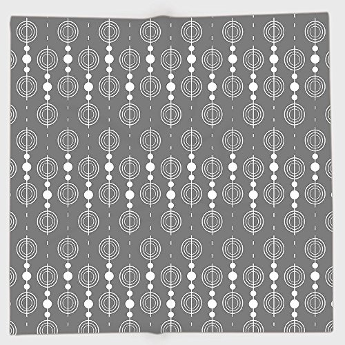 iPrint Polyester Bandana Headband Scarves Headwrap,Grey,Various Sized Geometric Circles Rounds Chained Spirals Retro Style in Mod Graphic Art Home Decorative,Gray White,for Women Men ()