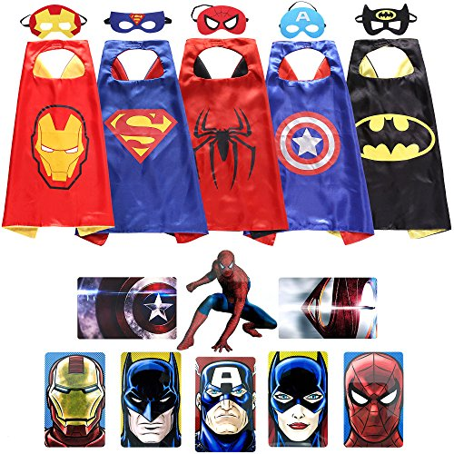 Lazu Superhero Dress Up Costumes 5 Satin Capes with Felt Masks and Bonus Stickers