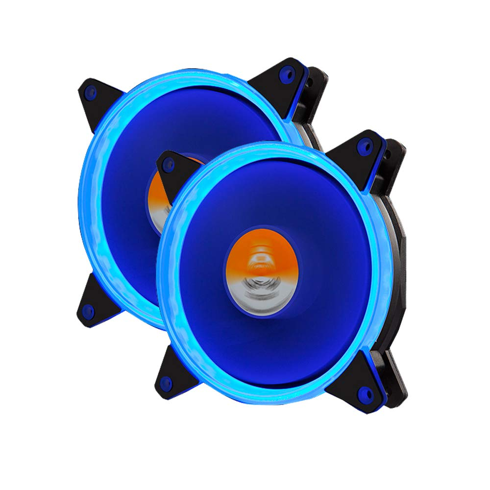 GOLDEN FIELD DW001 120mm Case Fan CPU Cooler Fans LED Cooing Fans for  Computer Case Solar Halo Ultra Quiet Bearing Fan (2 Pack Blue)