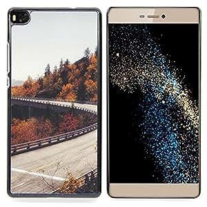 For Huawei Ascend P8 (Not for P8 Lite) Case , Camino del otoño Árboles Gris Cielo - Diseño Patrón Teléfono Caso Cubierta Case Bumper Duro Protección Case Cover Funda
