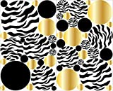 zebra print wall decals - Zebra Print Dot Wall Decals with Gold and Black Polka Dot Wall Stickers