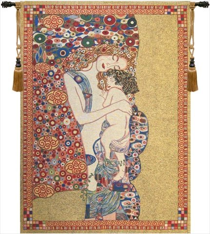 Home Furnishings, Klimt's Mother and Child, Belgian Tapestry Wall Hanging, Wall Art Decor, 18 by 21 Inch