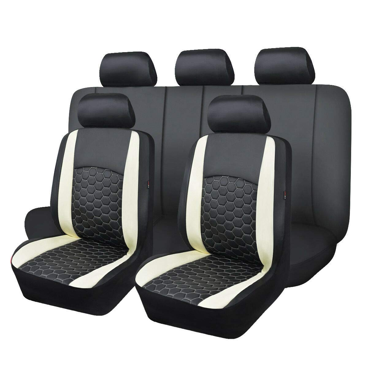 Universal fit Most Car,Truck,SUV and Van PVC Leather White and Black 003-Style Flying Banner 11 PCS Car Seat Covers Full Set Quilting Double Laminated Composite Sponge Airbag Compatible