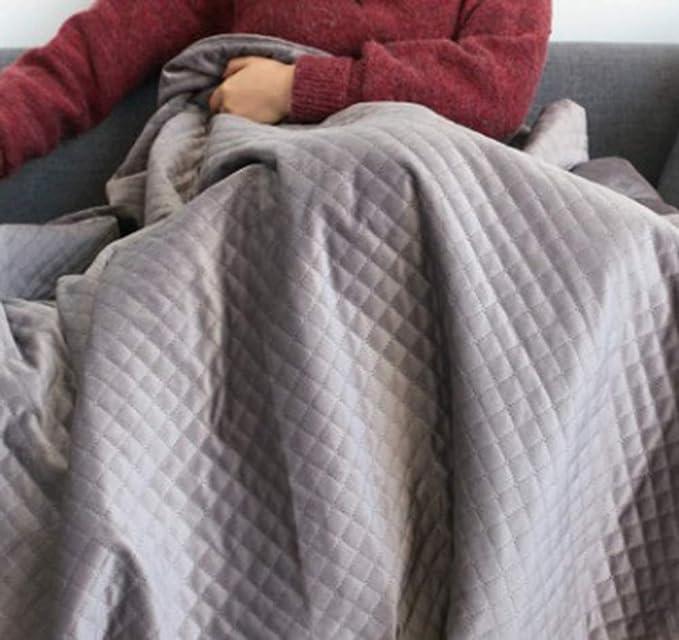 LZHDAR Manta Ponderada, 100% Gris Algodón 120 * 188Cm con Diseño De Cremallera Oculta Aumenta La Serotonina Y La Melatonina Transpirable Durable,Gray: ...