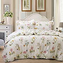 FADFAY Butterfly Meadow Duvet Cover Set 4-Piece Hypoallergenic 100% Cotton Stain Drill Farmhouse Bedding Floral Bedding With Hidden Zipper Closure 3 Pieces, 1duvet cover & 2pillowcases, Twin Size