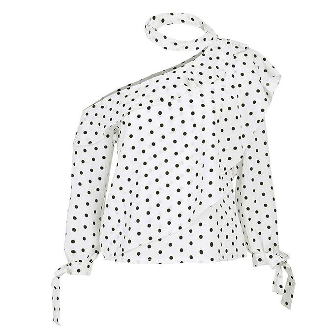 Camisa de Mujer con un Hombro,Blusa con Lunares Tops Linterna con Manga