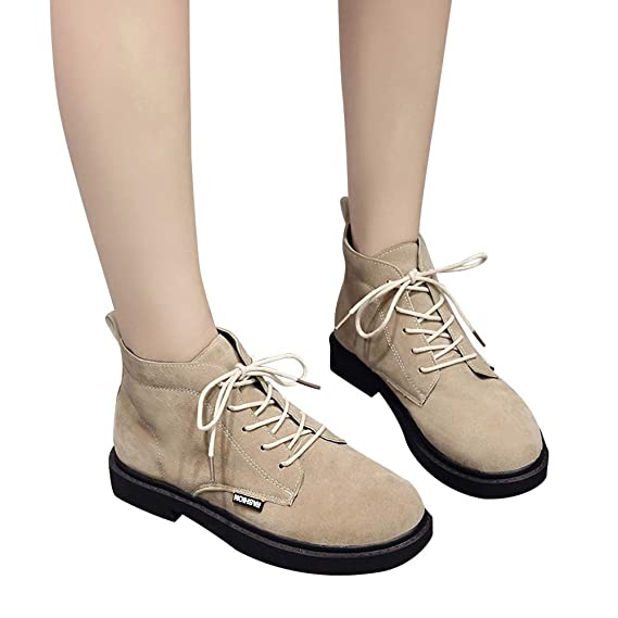 Women Square Heel Shoes Martain Boot Suede Lace-Up Solid Color Round Toe Shoes at Amazon Womens Clothing store: