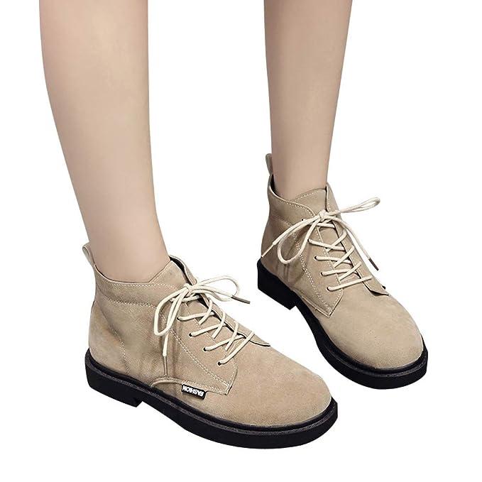 ❤ Botas Corta Mujer de Invierno con Cordones, Moda Zapatos de tacón Cuadrado Martain Boot Gamuza Color sólido Zapatos de Punta Redonda Absolute: ...