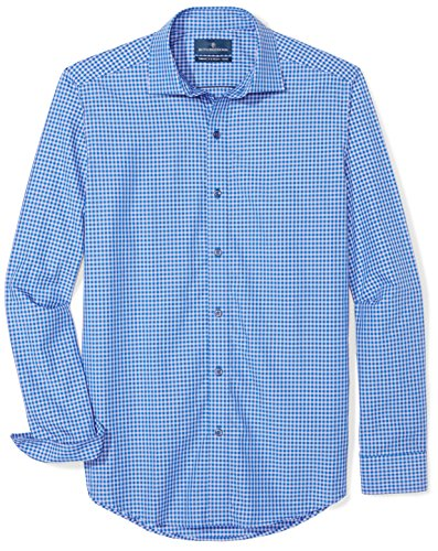 BUTTONED DOWN Men's Tailored Fit Supima Cotton Spread-Collar Dress Casual Shirt, Purple/Navy Small Gingham, 19-19.5