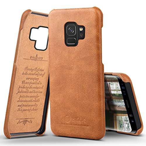 Galaxy S9 Case, B BELK Premium Vintage Series Protective Rugged Back Case covered by PU Leather Classical Business Style Cover for Samsung Galaxy S9 2018 release, Brown