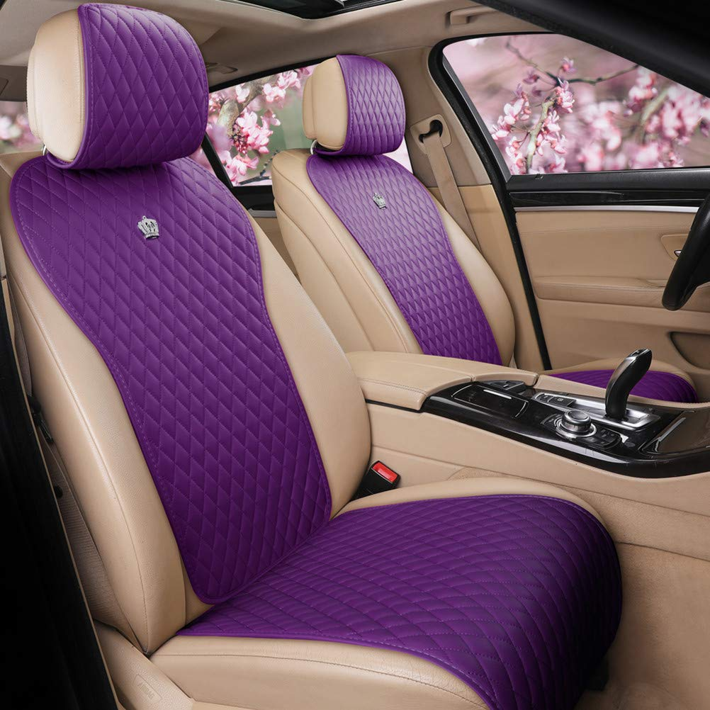 Red Rain Leather Purple Car Seat Cover 2/3 Covered 11PCS Auto Seat Cushion Covers Universal Fit Car/Auto/SUV (A-Purple)