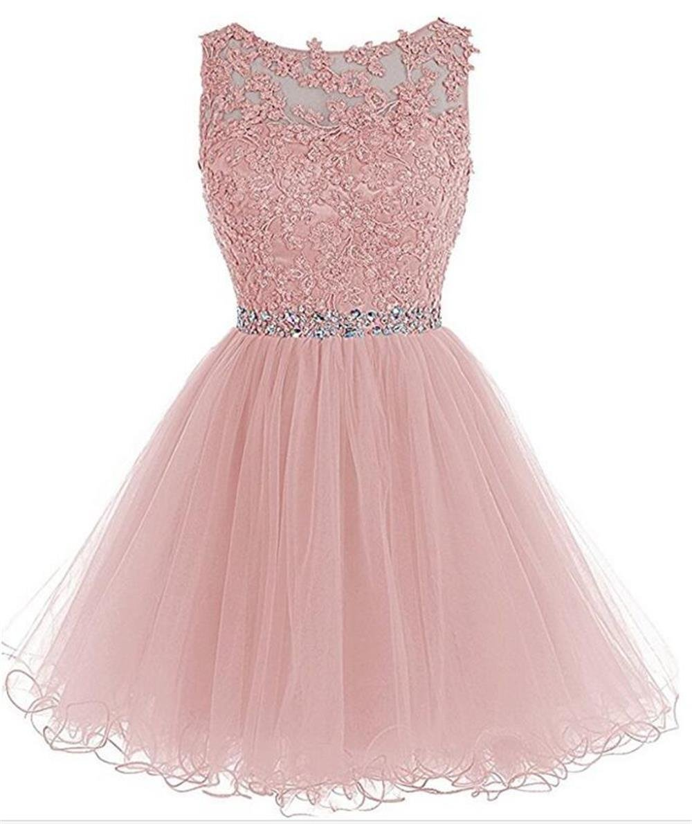995ba78640 Dydsz Women s Short Prom Dress Homecoming Dresses Beaded Appliques Party  Cocktail Gown D126 Blush 2
