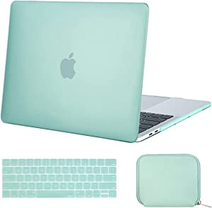MOSISO MacBook Pro 15 inch Case 2019 2018 2017 2016 Release A1990 A1707, Plastic Hard Case& Keyboard Cover& Water Repellent Neoprene Storage Bag Compatible with MacBook Pro 15 Touch Bar, Mint Green