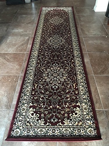 Rug Burgundy Persian (Traditional Burgundy Persian Long Runner Area Rug Burgundy 330,000 Point Design 603 (31 Inch X 9 Feet 10 Inch))