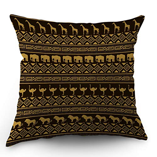 Moslion Aztec Pillow Cover Stripe African Flamingo Giraffe Lion Elephant Throw Pillow Case 18x18 inch Cotton Linen Square Cushion Decorative Cover for Sofa Bed Brown ()