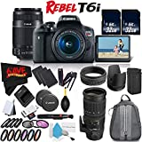 Canon EOS Rebel T6i DSLR Camera w/ 18-55mm Lens International Version (No Warranty) + Canon 55-250mm IS STM Lens + Sigma 70-200mm f/2.8 EX DG APO OS HSM for Canon 589101 + Deluxe Cleaning Kit Bundle