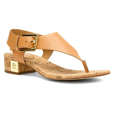 MICHAEL Michael Kors Womens London Thong Sun Tan Vachetta Cork Sandal