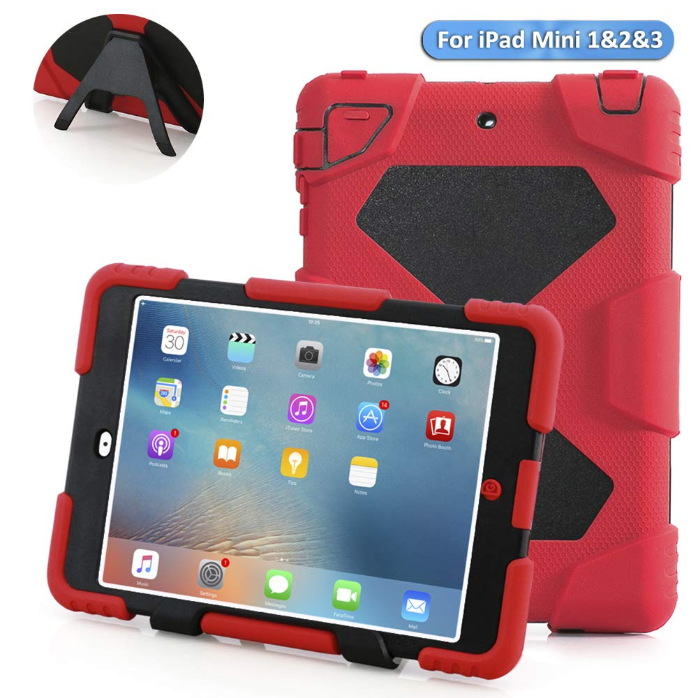 ACEGUARDER 18M980Ipad mini case, Aceguarder designnew products iPad mini 1&2&3 case [snowproof] [waterproof] [dirtproof] [shockproof] cover case with stand Super protection for kids Extreme Duty Dual Protective Back Cover Case Carabiner + whistle + handwr