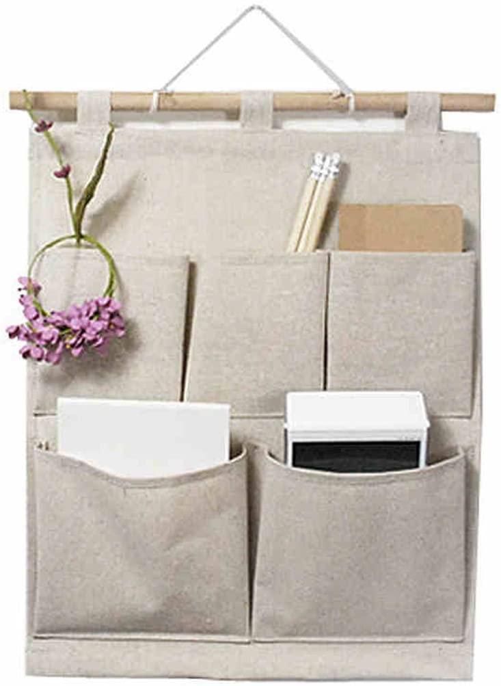 5 Pockets Closet Door Home Wall Hanging Organizer Storage Stuff Bag Pouch  Y;UK