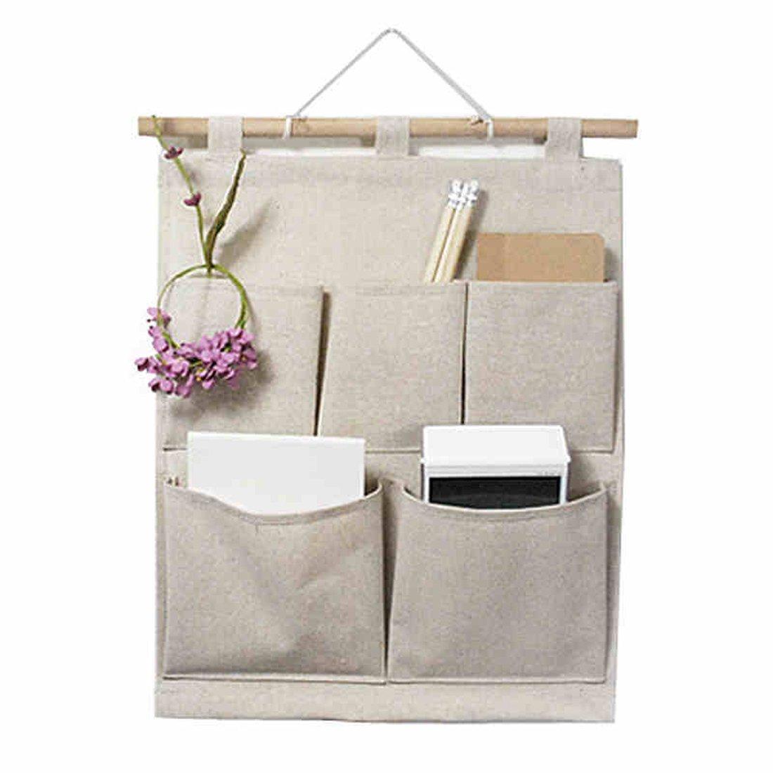 KINGREE Over The Door Magazine Storage Pockets, Wall Door Closet Hanging Storage Bag Organizer, (5 Pockets-Nature)