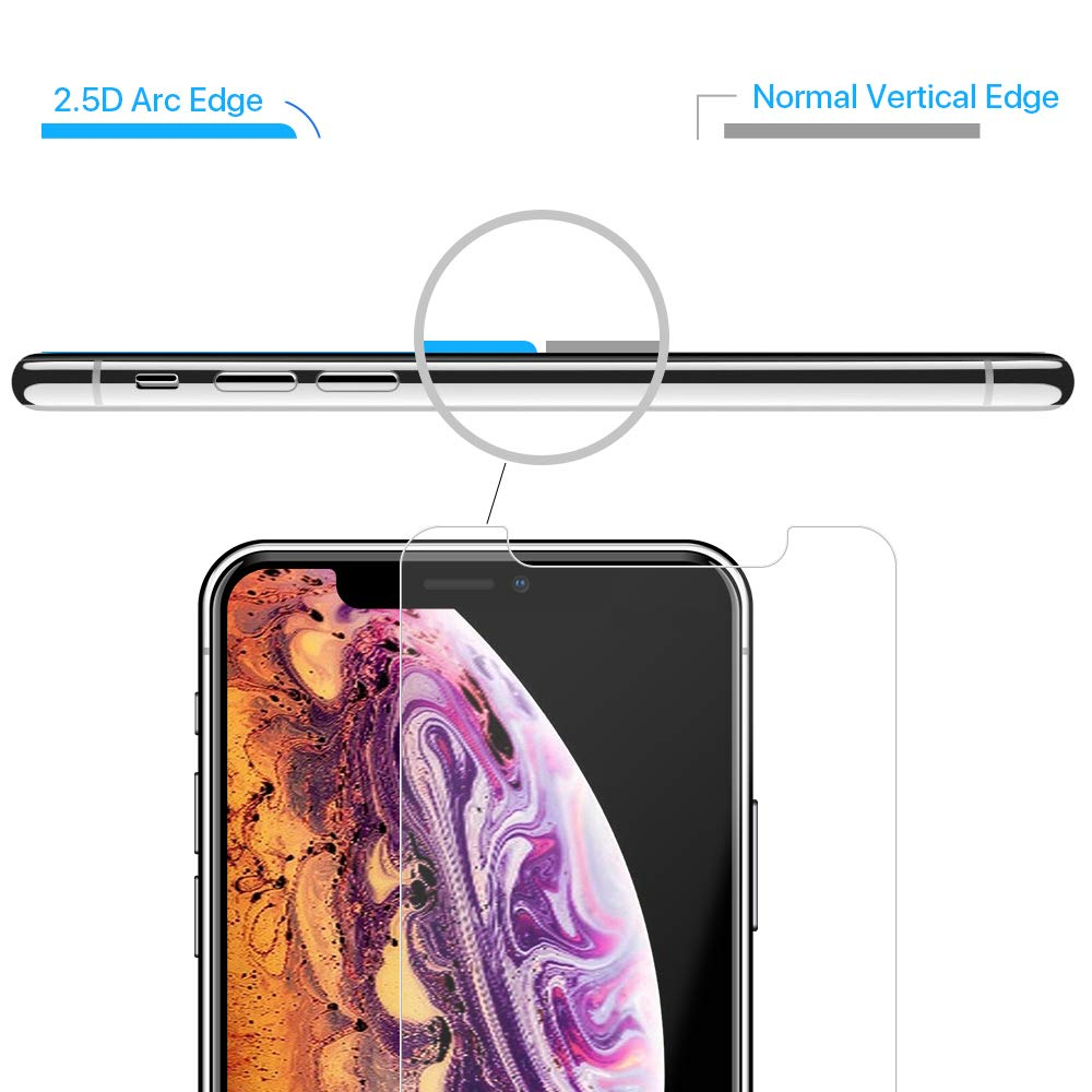 Tembin 9H Glass Screen Protector Round Edge Compatible with iPhone Xs Max 6.5 Inch 2018, Full Cover/Scratch Resistant/Bubble Free/High Response/Anti Fingerprint Screen Film