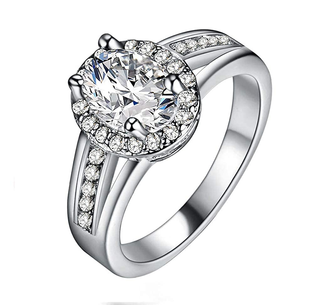Guraxi Womens Silver Plated Stainless Steel Charming Crystal Diamond Rings