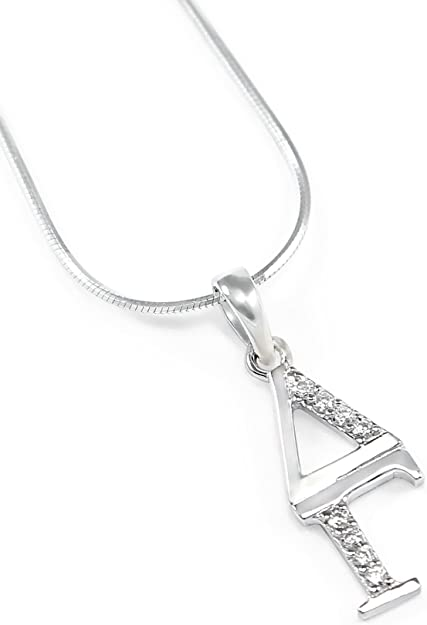 The Collegiate Standard Delta Gamma Sterling Silver Lavaliere with Czs