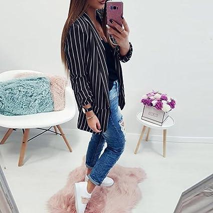 Teresamoon Womens Striped Slim Business Work Blazer Suit Jacket Coat Outwear at Amazon Womens Clothing store: