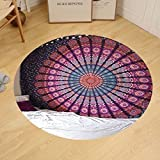 Gzhihine Custom round floor mat Indian-hippie-unique Bohemian-psychedelic-mandala Wall-hanging-tapestry-pink-purple Twin-size-54x72-es(140x185-Centimeters)