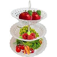 Inditradition 3 Layer Multipurpose Kitchen Storage Basket Rack | Space Saving Fruit & Vegetable Storage Baskets, Food-Grade Plastic, White