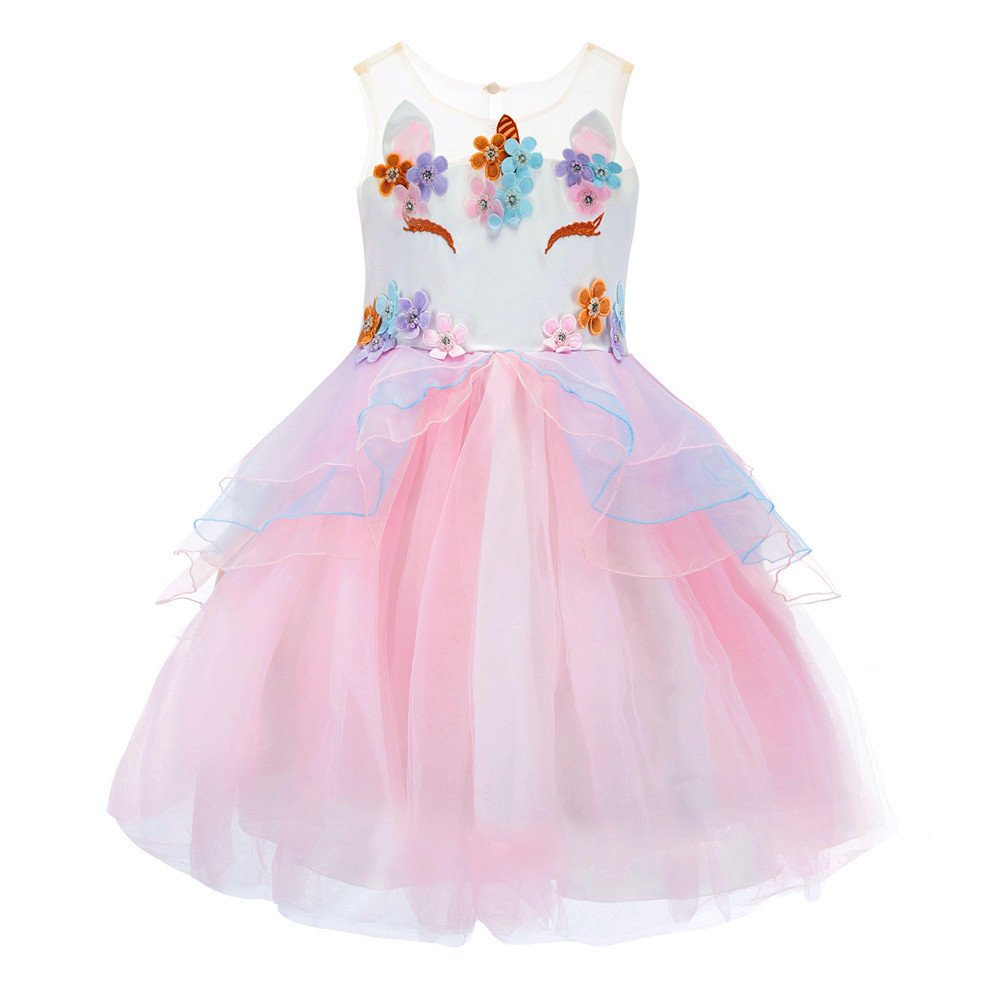 Flower Girl Rainbow Unicorn Tulle Dresses with 3D Embroidery Beading Birthday Party Ball Gowns (Pink, 120(5-6Y))