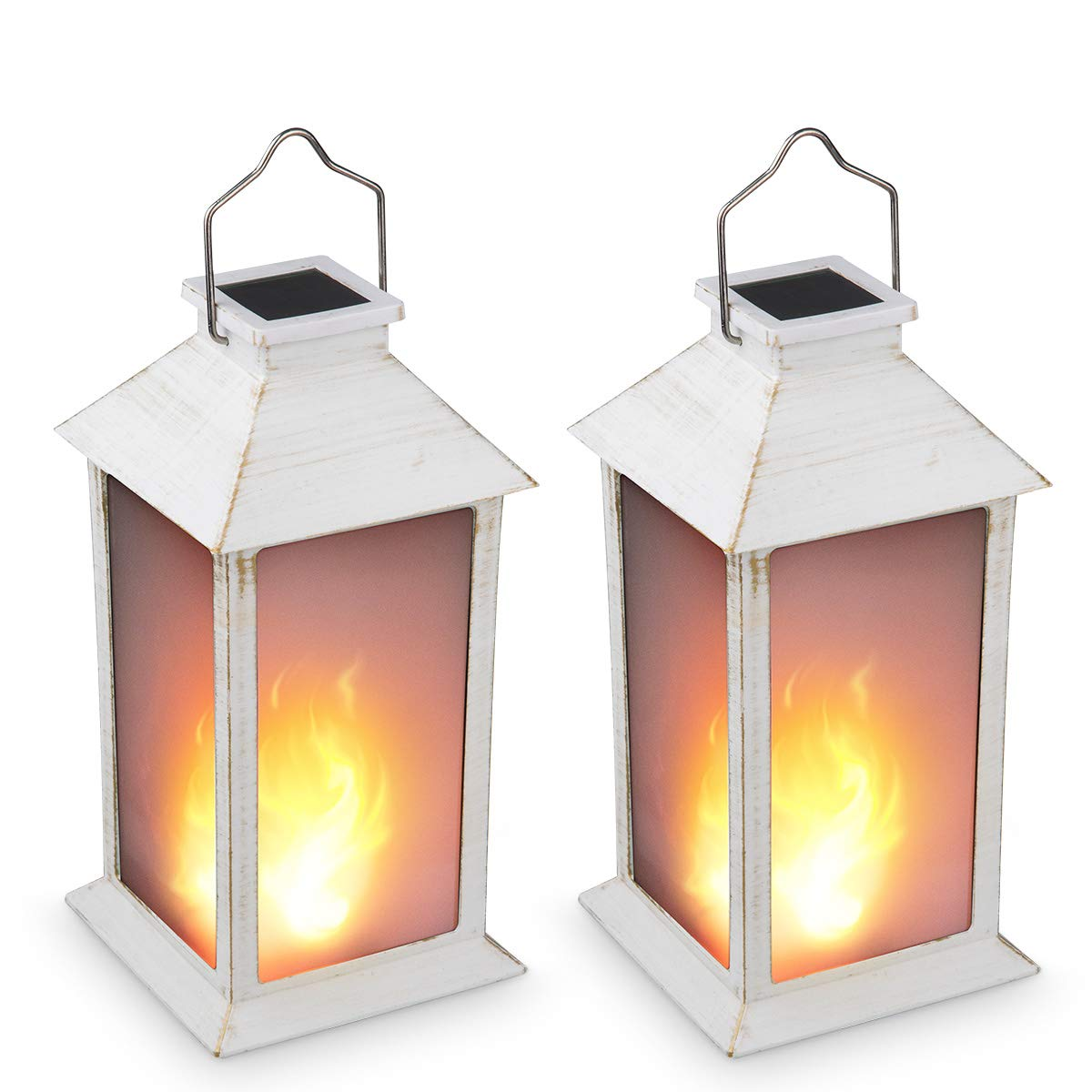 13'' Vintage Style Solar Powered Candle Lantern(Metallic Coating White,Plastic),Solar Garden Light with Vivid Fire Effect,Outdoor Solar Hanging Lantern,Decorative Candle Lanterns ZKEE (Set of 2)