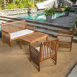Patio Furniture Sets,Patio Conversation Sets,Brown Desmond Outdoor 4 Piece Conversation  Set, Acacia Wood Chat Set With Cushions