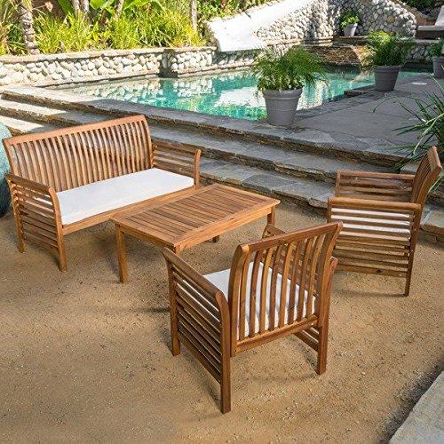 Patio Furniture Sets,Patio Conversation Sets,Brown Desmond Outdoor 4 Piece Conversation Set, Acacia Wood Chat Set with Cushions (Teak Wood Sofa Set)