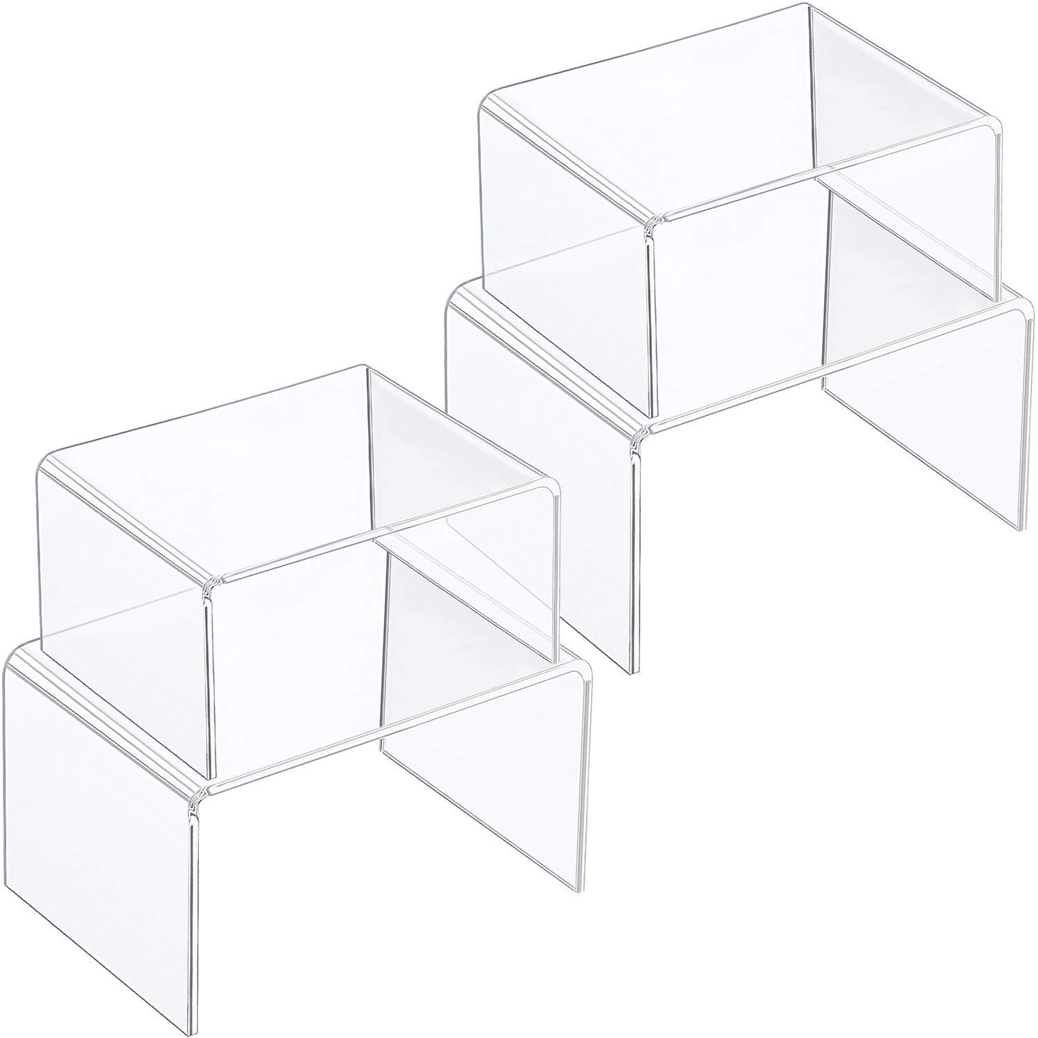 Chuangdi 4 Pieces Clear Acrylic Display Risers, Jewelry Display Risers Showcase Fixtures, Tear Off The Protective Film Before Use (4.1 Inch and 3.3 Inch)