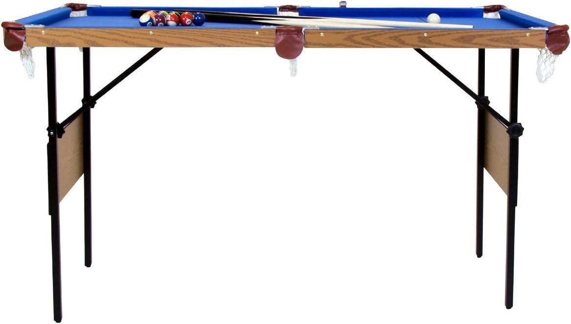 Blau Poolbillard-Tisch 1,39 m Kugeln mit Punkten /& Streifen 2 Queues