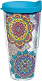 Tervis 1223132 Colorful Mandalas Tumbler with Wrap and Turquoise Lid 24oz, Clear